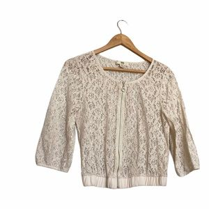 ISSI Lace Zip Up Ivory Cardigan M